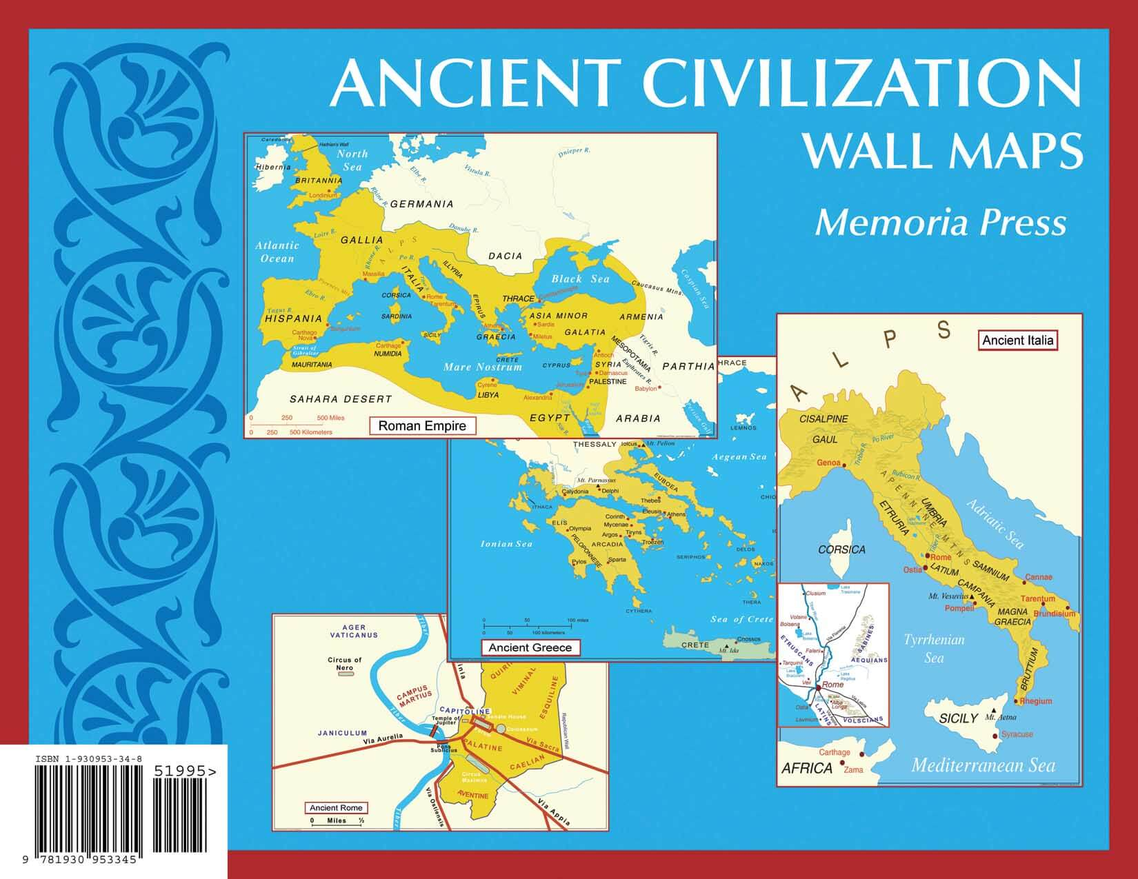 Ancient Civilization Small Wall Maps X Memoria Press - Maps of us and anchent rome