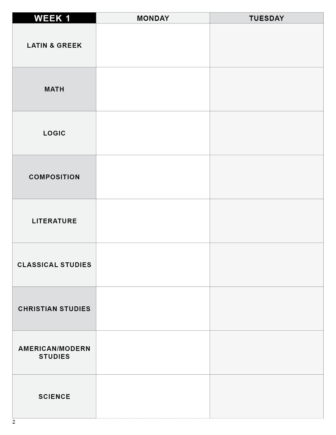 Editable Lesson Plan Template Upper School Digital