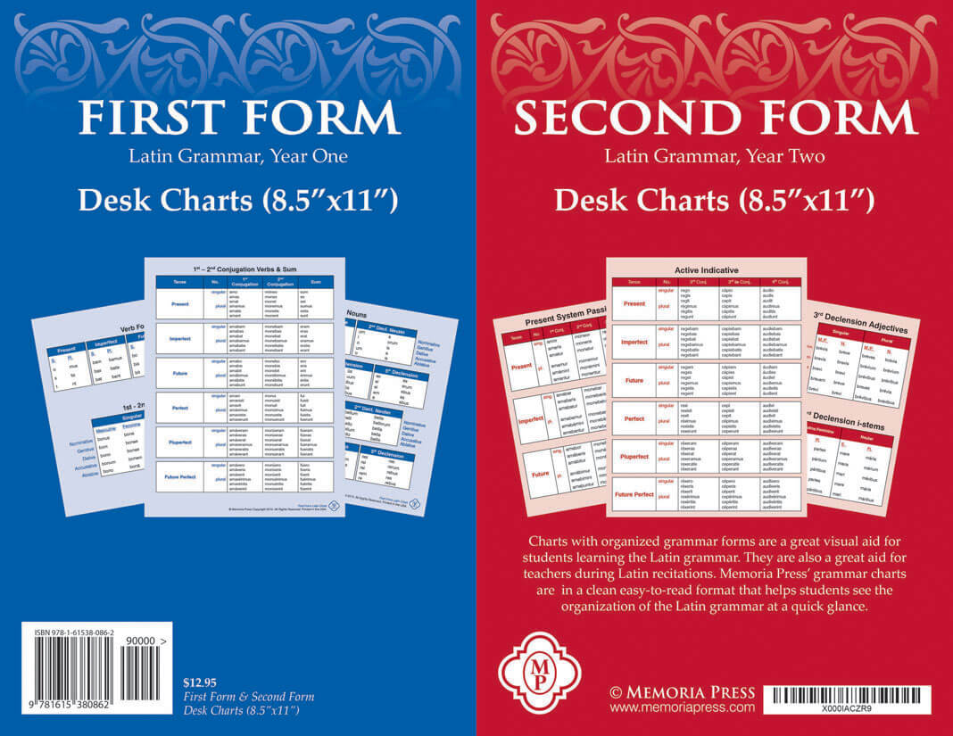 First and Second Form Latin Desk Charts | Memoria Press