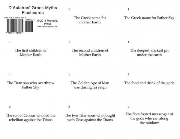 D'Aulaires' Greek Myths Flashcards