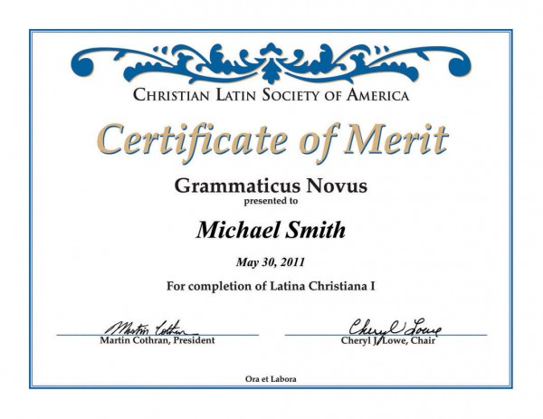 Certificate for Latin