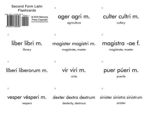 Second Form Latin Flashcards